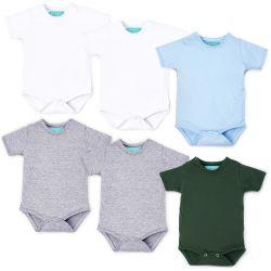 Kit Body Manga Curta Baby Basics Branco, Cinza, Azul e Verde Leve 6 Pague 5