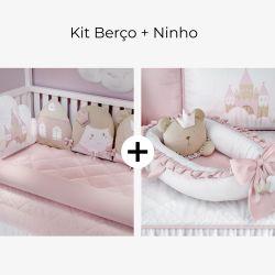 Kit Berço Amiguinhas Realeza + Ninho para Bebê Redutor de Berço Amiguinha Ursa Princesa