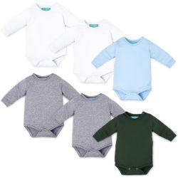Kit Body Manga Longa Baby Basics Branco, Cinza, Azul e Verde Leve 6 Pague 5