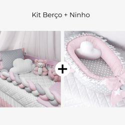 Kit Berço Trança Poá Rosa + Ninho para Bebê Redutor de Berço Poá Rosa