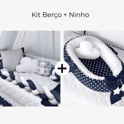 Kit Berço Trança Poá Azul Marinho + Ninho para Bebê Redutor de Berço Poá Azul Marinho e Branco