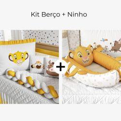 Kit Berço Trança + Ninho para Bebê Redutor de Berço Amiguinho Simba O Rei Leão