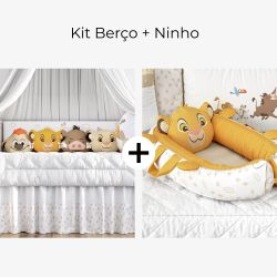 Kit Berço Amiguinhos O Rei Leão + Ninho para Bebê Redutor de Berço Amiguinho Simba O Rei Leão