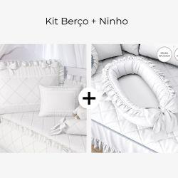 Kit Berço Branco Clássico + Ninho para Bebê Branco Clássico