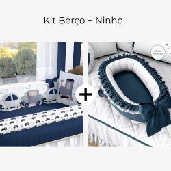 Kit Berço Carrinhos Azul Marinho + Ninho para Bebê Redutor de Berço Azul Marinho Clássico