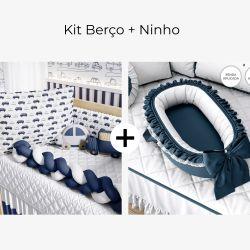 Kit Berço Carrinhos Trança Azul Marinho + Ninho para Bebê Redutor de Berço Azul Marinho Clássico