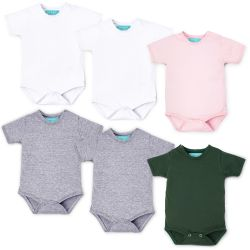 Kit Body Manga Curta Baby Basics Branco, Cinza, Rosa e Verde Leve 6 Pague 5