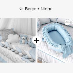 Kit Berço Trança Poá Azul + Ninho para Bebê Redutor de Berço Poá Azul