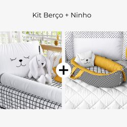 Kit Berço Luli Preto e Branco + Ninho para Bebê Redutor de Berço Luli Preto, Branco e Amarelo Mostarda