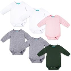 Kit Body Manga Longa Baby Basics Branco, Cinza, Rosa e Verde Leve 6 Pague 5