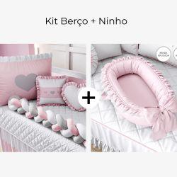 Kit Berço Trança Coração Rosa + Ninho para Bebê Redutor de Berço Rosa Clássico