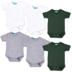 Kit Body Manga Curta Baby Basics Branco, Cinza e Verde Leve 6 Pague 5