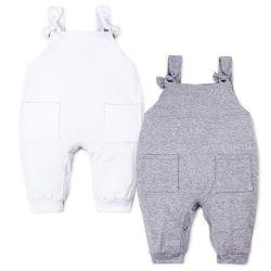 Kit Jardineira Baby Basics Branco e Cinza 2 Peças