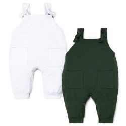 Kit Jardineira Baby Basics Branco e Verde 2 Peças