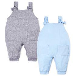 Kit Jardineira Baby Basics Cinza e Azul 2 Peças