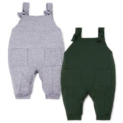 Kit Jardineira Baby Basics Cinza e Verde 2 Peças