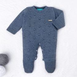 Macacão Tricot Bolinha Azul Jeans