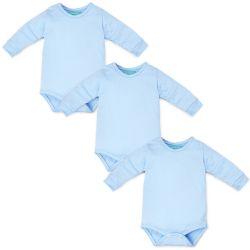 Kit Body Manga Longa Baby Basics Azul 3 Peças
