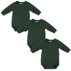 Kit Body Manga Longa Baby Basics Verde 3 Peças