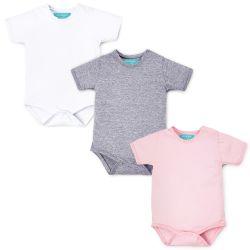 Kit Body Manga Curta Baby Basics Branco, Cinza e Rosa 3 Peças