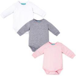 Kit Body Manga Longa Baby Basics Branco, Cinza e Rosa 3 Peças