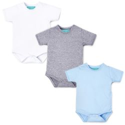 Kit Body Manga Curta Baby Basics Branco, Cinza e Azul 3 Peças