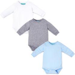 Kit Body Manga Longa Baby Basics Branco, Cinza e Azul 3 Peças