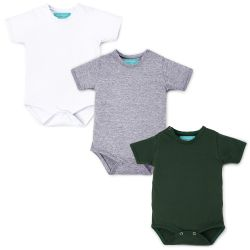 Kit Body Manga Curta Baby Basics Branco, Cinza e Verde 3 Peças