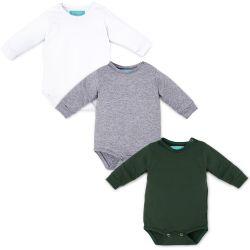 Kit Body Manga Longa Baby Basics Branco, Cinza e Verde 3 Peças