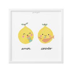 Quadro Limão Siciliano Amor e Carinho 18cm