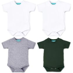Kit Body Manga Curta Baby Basics Branco, Cinza e Verde 4 Peças