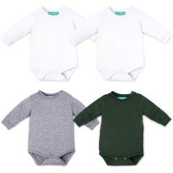 Kit Body Manga Longa Baby Basics Branco, Cinza e Verde 4 Peças