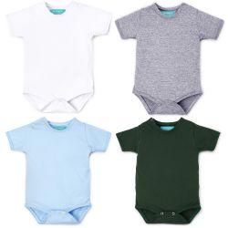 Kit Body Manga Curta Baby Basics Branco, Cinza, Azul e Verde 4 Peças