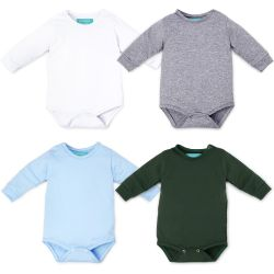 Kit Body Manga Longa Baby Basics Branco, Cinza, Azul e Verde 4 Peças
