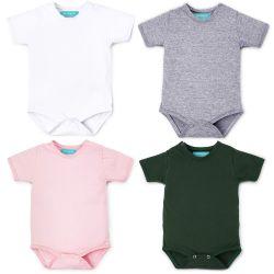Kit Body Manga Curta Baby Basics Branco, Cinza, Rosa e Verde 4 Peças