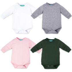 Kit Body Manga Longa Baby Basics Branco, Cinza, Rosa e Verde 4 Peças