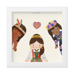 Quadro Meninas do Mundo Coração Florido 18x18cm