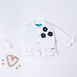 Casaquinho Tricot Ladylike Flor Branco e Azul Marinho