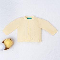 Casaquinho Tricot Elegante Amarelo Camomila