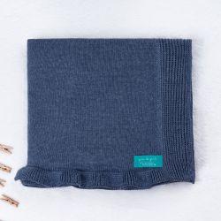 Manta Bebê Tricot Babado Azul Jeans 80cm