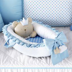 Ninho para Bebê Redutor de Berço Amiguinho Urso Príncipe Azul 80cm