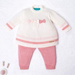 Saída Maternidade Tricot Vestido e Calça Navy Off White e Rosa 02 Peças