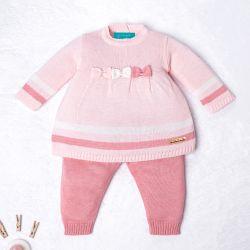 Saída Maternidade Tricot Vestido e Calça Navy Rosa e Off White 02 Peças