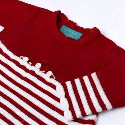 Saída Maternidade Tricot Vestido Listrado Vermelho com Flores Calça Creme 02 Peças
