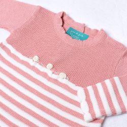 Saída Maternidade Tricot Vestido Listrado Rosê com Flores Calça Branca 02 Peças
