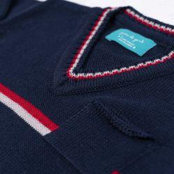 Saída Maternidade Tricot Suéter e Calça Baseball Listras Azul Marinho e Vermelho Peças