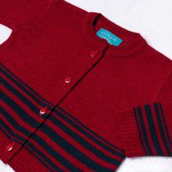 Saída Maternidade Tricot Cardigan e Calça Listras Vermelho e Azul Marinho 02 Peças