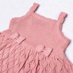 Vestido Tricot Vazado Laços Rosa Chiclete