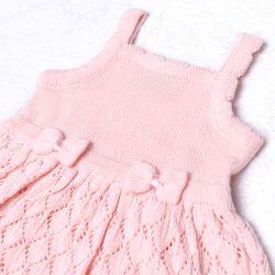 Vestido Tricot Vazado Laços Rosa