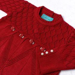 Saída Maternidade Tricot Vestido e Calça Losango Rococó Vermelho 02 Peças